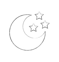 cute moon with stars vector image