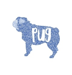Form of round particles dog flat pug vector