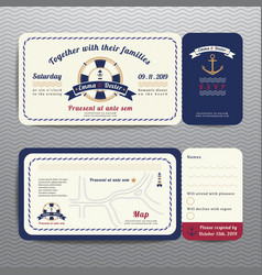 Nautical ticket wedding invitation and RSVP card vector image vector image
