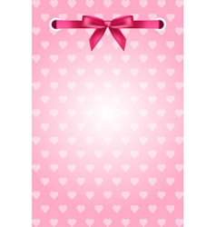 pink background with hearts and ribbon vector image