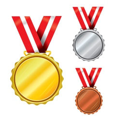 Three medals vector image vector image