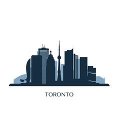 toronto skyline monochrome silhouette vector image