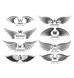 Wings logotype set Bird wing or winged logo design vector image