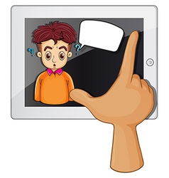 A hand touching a gadget with a man thinking vector image
