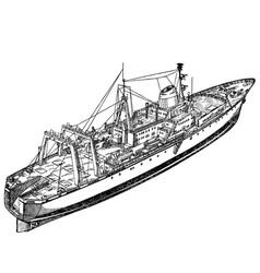 fishing ship vector image vector image
