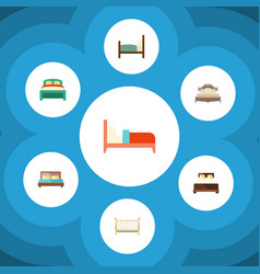Flat bed set of bedroom furniture bearings and vector