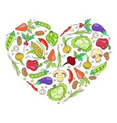 Heart from vegetables on white vector image