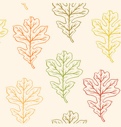 seamless pattern with oak leaves vector image vector image