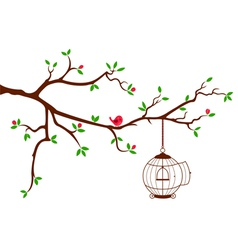 Tree Branch with rounded bird cage vector image vector image