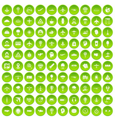 100 aviation icons set green vector