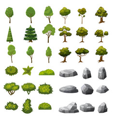 A set of stones trees and bushes of landscape vector