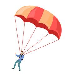 adventure parachuting icon cartoon style vector image