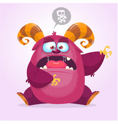 angry cartoon monster halloween horned monster vector image