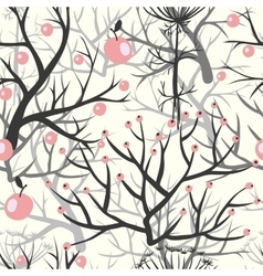 apples berries branch seamless ornament vector image