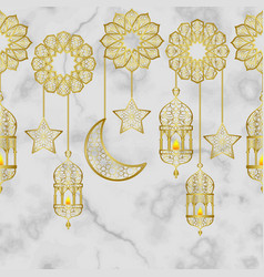 Arabic golden lantern seamless border vector