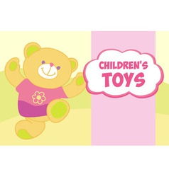 banner with a teddy bear Template for advertising vector image