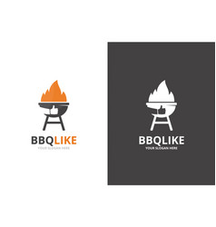 bbq and like logo combination unique vector image