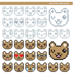 Bear pixel emoticons vector