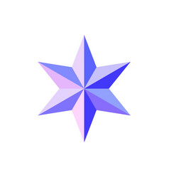 Beautiful six-pointed faceted shiny pink blue star vector