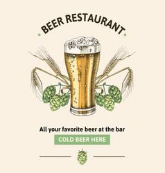 beer restaurant poster template vector image
