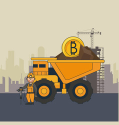 Bitcoin mining truck and worker with drill vector