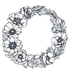 Black and white floral wreath of hand drawn vector