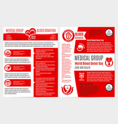 Blood donation medical brochure poster template vector