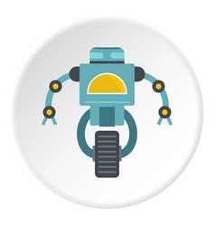 Blue cyborg on wheel icon circle vector