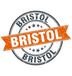 Bristol red round grunge vintage ribbon stamp vector