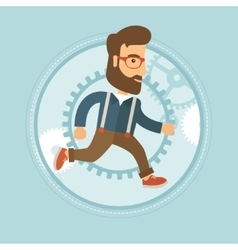 Businessman running on gear background vector image
