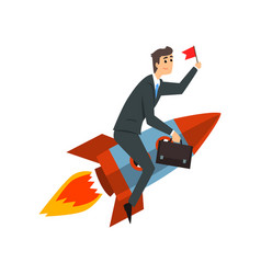 businessman with flag riding on a rocket vector image