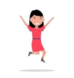 Cartoon girl jumping happiness vector