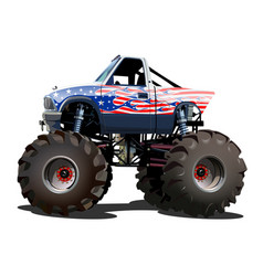 cartoon monster truck isolated on white background vector image