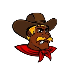 Cartoon moustached cowboy with leather hat vector