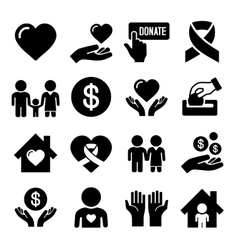 Charity and Care Icons Set vector