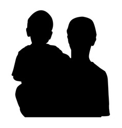 child in the hands of the parent silhouette black vector image