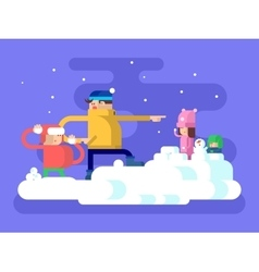 Children playing snowballs vector