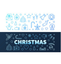 christmas blue modern banners in outline vector image