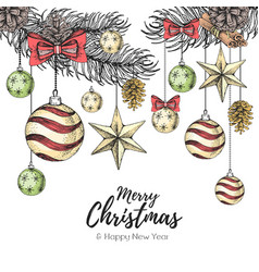 Christmas holiday hand drawign poster vector