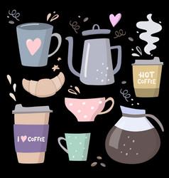 Coffee big set coffee to go coffee vector