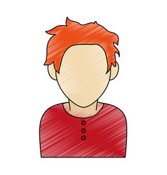 color pencil faceless half body man with t-shirt vector image