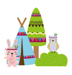 Colorful rabbit and owl animal with camp and bush vector