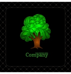 Company business icon with laced green tree vector image