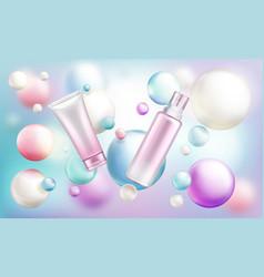 Cosmetics bottles mock up beauty tubes vector