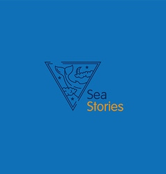 Creative logo sea stories the whale in the cloud vector
