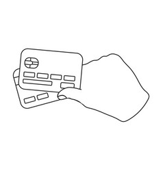 credit cards in hand e-commerce single icon in vector image