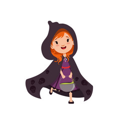 cute little red-haired girl witch walking in black vector image
