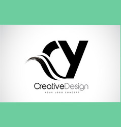 Cy c y creative brush black letters design with vector