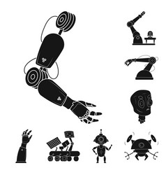Design of robot and factory sign vector