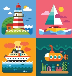 Different sea landscapes vector